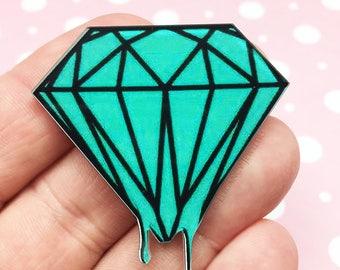 Mint Dripping Diamond Kawaii Resin Flat Back, (R008)