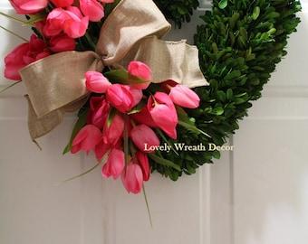 Valentines wreath ,silk tulip wreath ,Heart Wreath,  boxwood wreath , preserved Heart boxwood wreath  ,front door wreath