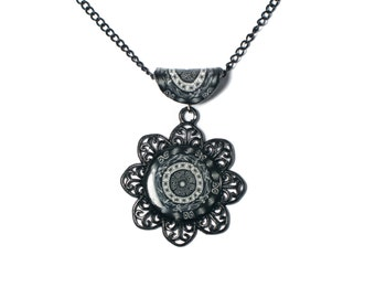 Polymer Clay Pendant, Rococo Baroque Necklace, Flower Cabochon Necklace, Gothic Pendant, Black and White Necklace, Bezel Necklace Pendant