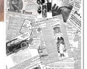 Decoupage Soft Paper | Collage of old newspaper clippings black and white nostalgia vintage shabby-chic