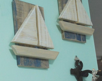 Wood Sailboats Wall Art, Nautical Beach Wall Art Decor Sign Boat Picture