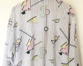 1980s Oversize Geometric Shapes Button-Up / Fits Most /