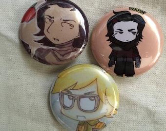 Kylo Ren Fan Art Pinback Buttons (Set 2)