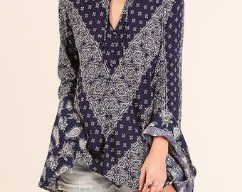 Navy Printed Top with Bell Sleeve & Tie
