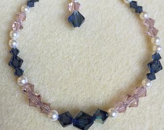 Pink and Blue Swarovski Crystal, Cream Swarovski Pearl Bracelet