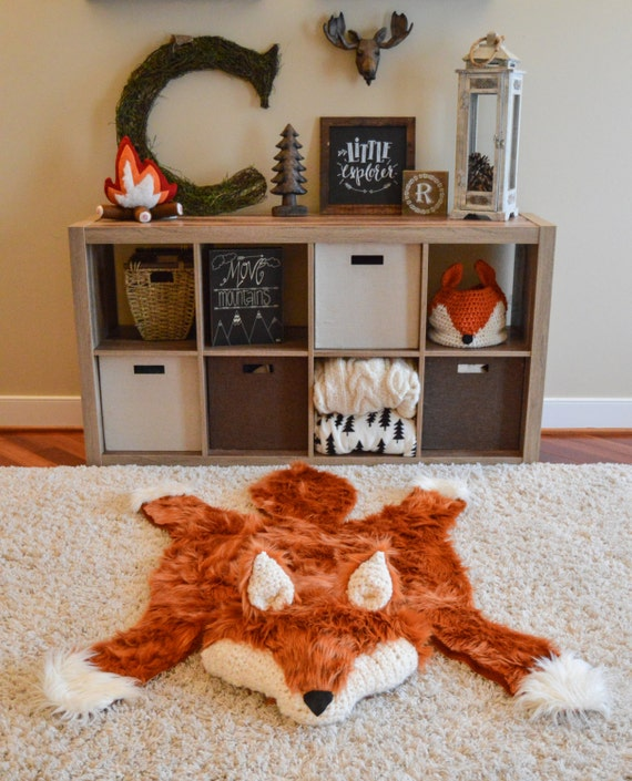 Fox rug, Faux fox rug, woodland nursery, Fox Baby room decor, animal play mat