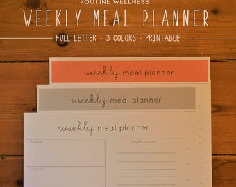 Meal Planner Printable, Printable Planner, Minimalist Planner, Meal Planning, Grocery List, Healthy Habits, Instant Download