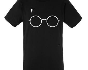 T-shirt black Harry Potter, man, bezel, dumbledore, harry glasses, scar