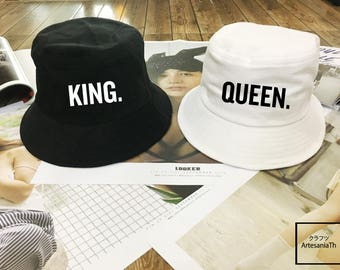 King and Queen Bucket Hat Couples Hats , matching hat, Valentine day, instagram tumblr