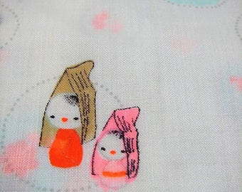 280: Japanese vintage kimono jyuban wool white pink orange waterblue kids Kokeshi cherry flower chrysanthemum