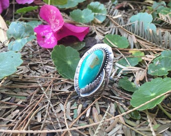 Women's Turquoise Ring. Handmade Sterling Silver Ring.