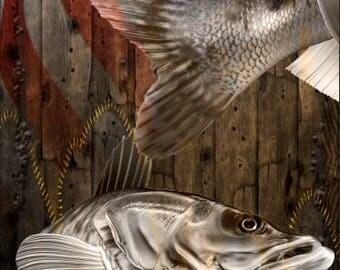 Ghost Walleye Fish Flag Wood Cornhole Wrap Bag Toss Decal Baggo Skin Sticker Wraps