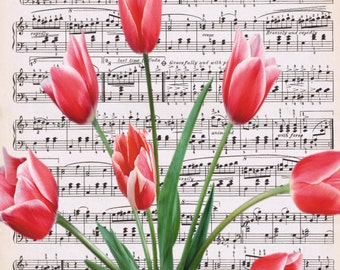 Winds of Spring - Vintage Sheet Music with Red Tulips Photo Overlay 8x10 - Digital Print Instant Download - jpg, pdf, or png