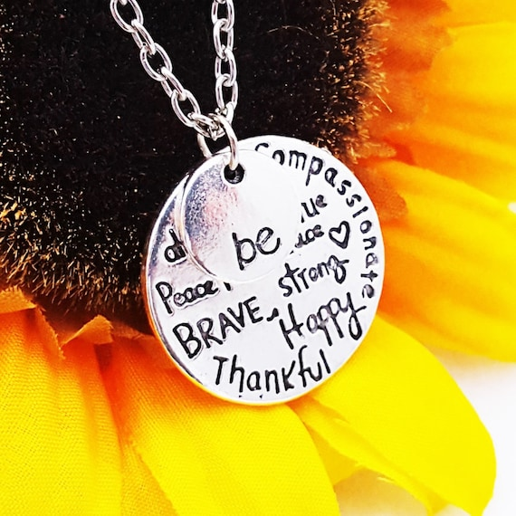 LDS Jewelry, Be Happy Charm Necklace, Gift for YW Daughter Mother, Word Charms, Be Thankful Be Brave, Be Strong Jewelry, Inspirational Quote
