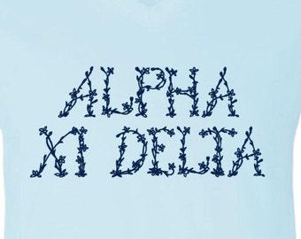 alpha xi delta floral letters logo
