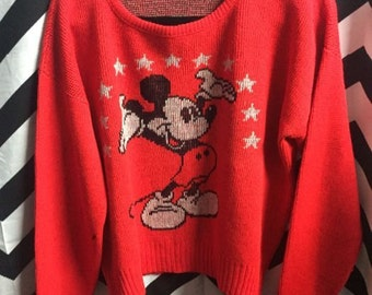 OH MICKEY!  Vintage Cliff Engle Knit Sweater -Jumper Mickey Mouse Design Official