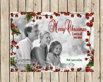 Holly Photo Christmas Cards, Christmas Cards With Picture, Holly Berry Christmas Card, Flat Photo Christmas card, Merry Christmas Card