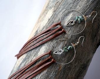 Tribal Hoop Leather Fringe Earrings - Festival Hoop Earrings - Turquoise Hoop Earrings - Gypsy Hoop Earrings - Bohemian Hoop Earrings