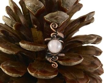 Oxidised Copper dreadlock bead with Rose Quartz