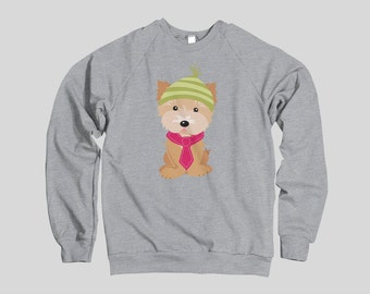 Yorkshire Terrier Yorkie Christmas Sweatshirt | Festive Sweater Holiday Dog Portrait Crew Neck Long Sleeve Dog Lover's Sweater