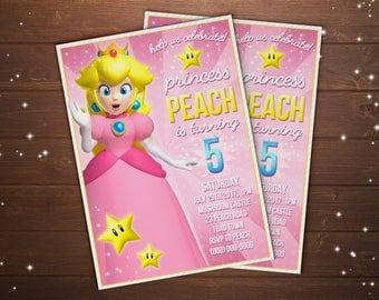 Custom Princess Peach Super Mario Bros Birthday Party Invitation - 5x7 or 4x6