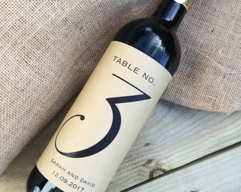 Wedding table numbers wine labels, wine stickers, reception table numbers