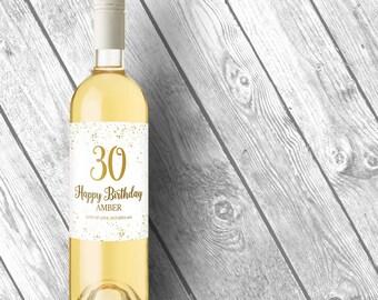 30th Birthday Decorations, Wine Label 30th Birthday Wine Label, 30th Birthday Gift for Her, 30th Birthday For Him, Cheers to 30 Years