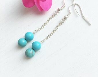 Turquoise Earrings Silver, Turquoise Earrings Bead, Long Earrings, Turquoise Jewelry, Long Clip Earrings, December Birthstone Earrings