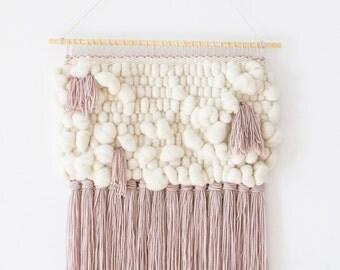 Woven wall hanging | Woven wall art | Woven tapestry wall hanging | Wall tapestry weaving | Nursery wall art decor | Pink White Wall weaving