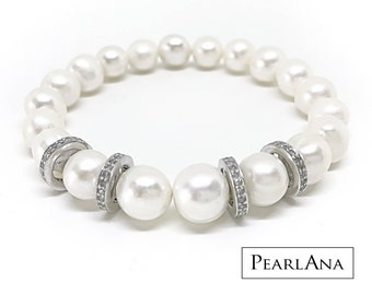 White cultured pearl and 0.88 carat diamond bracelet