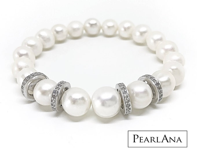 Featured listing image: White cultured pearl and 0.88 carat diamond bracelet