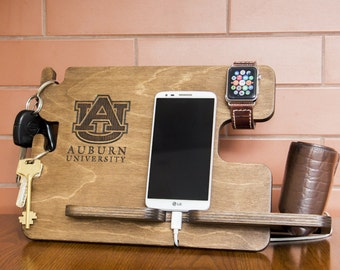 Personalized Auburn University docking station - iPhone charging stand, gift idea - Mens charging dock