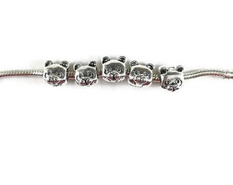 ON SALE Set of 2 Bear Spacer Beads, Silver Spacer Beads, Teddy Bear European Bead, Large Hole Beads, Bracelet, European Charm Beads, EB1335