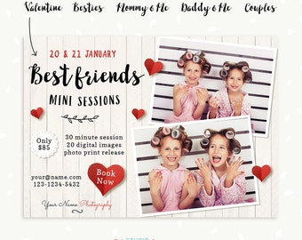 Valentine Marketing Board, Best friends, Besties, Couples, Mommy & Me, Daddy and me, Valentine Mini Session Template, Photoshop Template