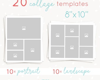 Collage template 20 pieces, 8x10 inch portrait and landscape, Storyboard template bundle, blog board template, Photography collage template