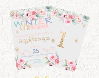 Winter Onederland Invitation, Girl Birthday Invitation, First Birthday Invitation, Floral Birthday Invitation, Pink and Gold, Digital File