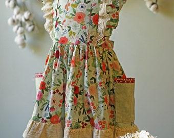 Girls Spring Dress, Girls Easter Dress, Girls Pinafore Dress, Girls Flutter Sleeve Dress