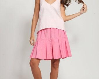 Blush pink top ,Sleeveless  tank top, Pastel tank top ,Summer shirt ,Summer tank, cotton top, Sleeveless shirt ,v neck top, loose fit top