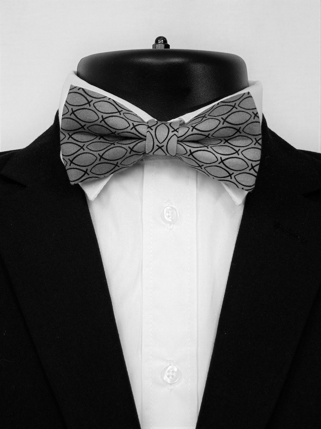 Christian fish bow tie black on light gray mens or boys for Fish bow tie