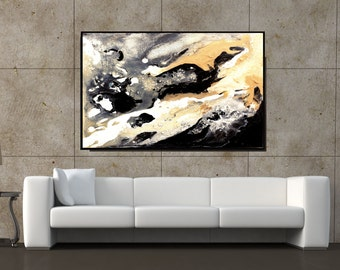 Extra Large Art, Abstract Wall Art Giclee Print Black And White Canvas Art, Abstract Print, Giclee Canvas Print Black And White Artwork