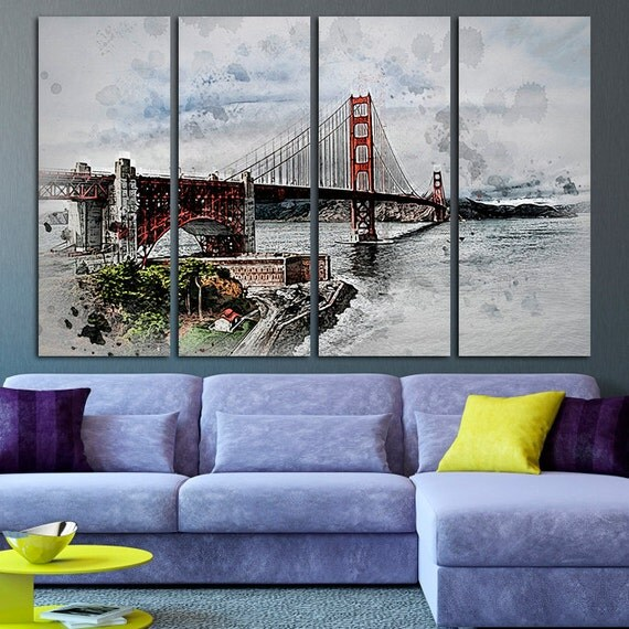 Golden gate bridge art canvas print san francisco wall - Home decor san francisco image ...
