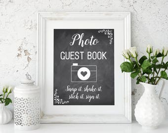 Rustic wedding photo guest book sign  Rustic sign Photo guest book sign Chalkboard sign Wedding printable Chalkboard decor Snap it shake it