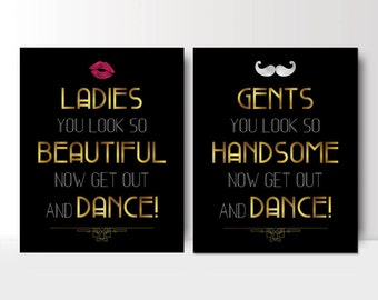 Art Deco Wedding Bathroom Signs   Womens And Mens Restroom   His And Hers Bathroom  Signs