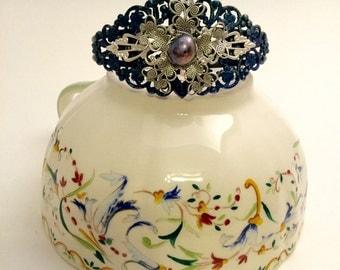 Blue and Silver Filigree Cuff Bracelet