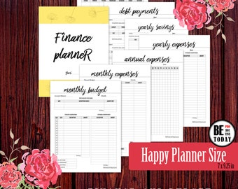 HAPPY PLANNER Printable Inserts, Budget Planner, Finance Planner, Financial Planner, Printable Inserts, Monthly Expenses, Debt Tracker, PDF