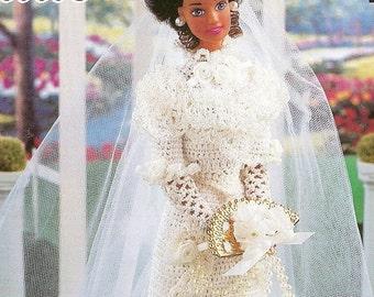 """227.Barbie fashion doll dress-crochet pattern in pdf, """"Spring Garden"""" Bridge dress pattern"""