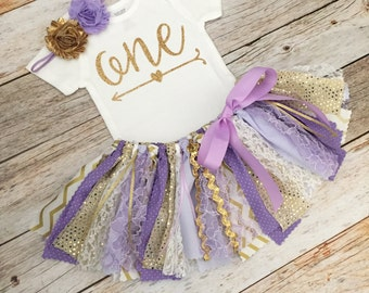Purple/Lavender and Gold Birthday Outfit with Headband, Sparkly Purple and Gold First Birthday, Lavender and Gold Fabric Tutu