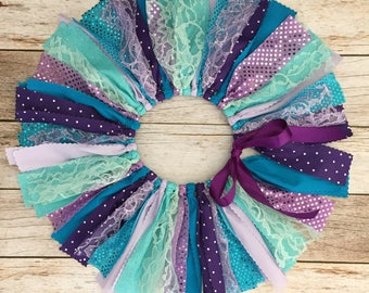 Mermaid Fabric Tutu, Baby Girl Mermaid Birthday Outfit, Purple and Blue Fabric Tutu, Girl First Birthday Outfit