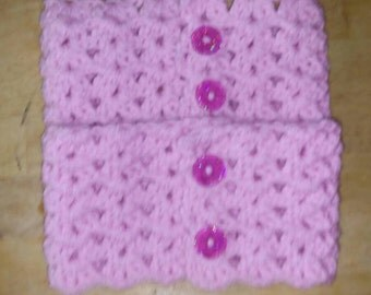 Hand Crocheted, Boot Cuffs, Button Closure, Adjustable, Blush Pink Yarn, Boot Toppers