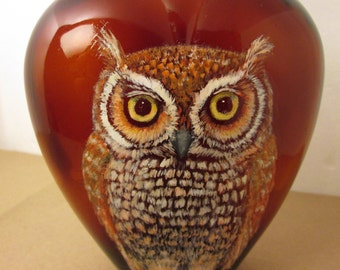 Eastern Screech Owl on Paul Masson Heart Shaped Bottle